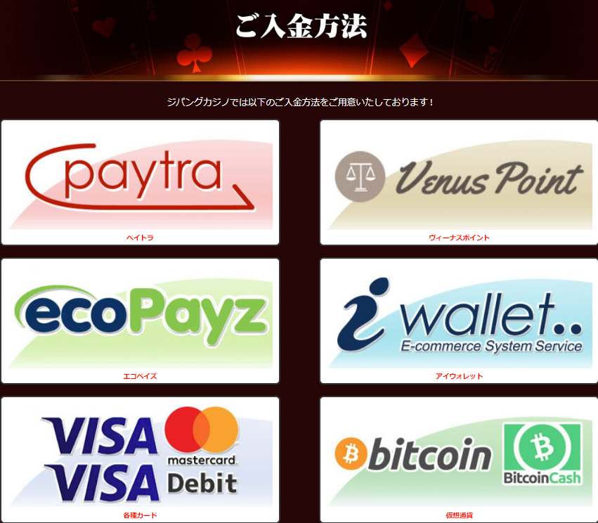 zipang casino deposit  methods