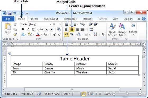 merge table on word