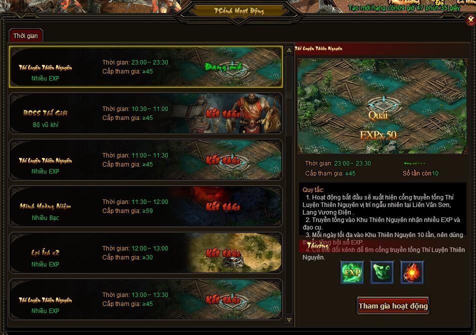 Thí Luyện Thiên Nguyên | Webgame Khoa Huyễn Cửu Tinh Vô Song | 360game.vn