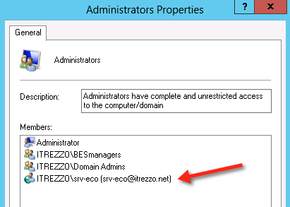 itrezzo Admin properties on Windows 2012