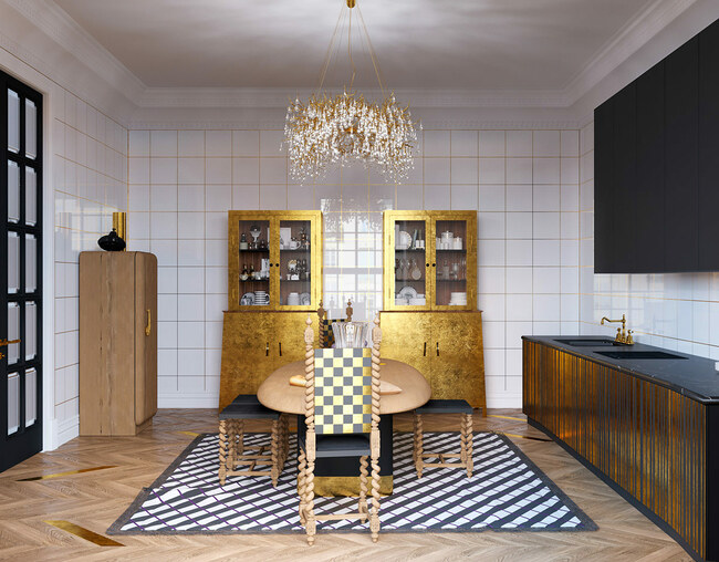 Cặp tủ bếp làm hoàn toàn từ vàng theo lối cổ điển với các đồ gốm sứ đắt tiền bên trong.