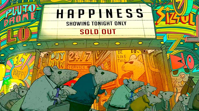 Rat race cartoon happiness