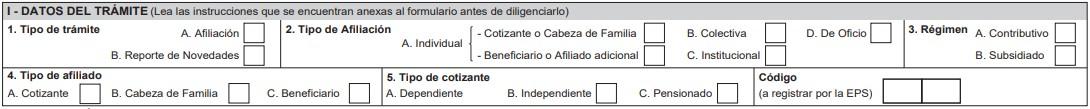 Datos del trámite-formulario de afiliación Sanitas