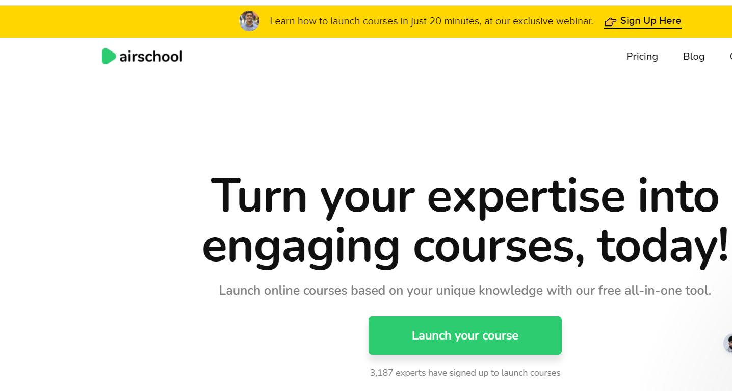 Screenshot of Airschool - Cohort Based Course Platform