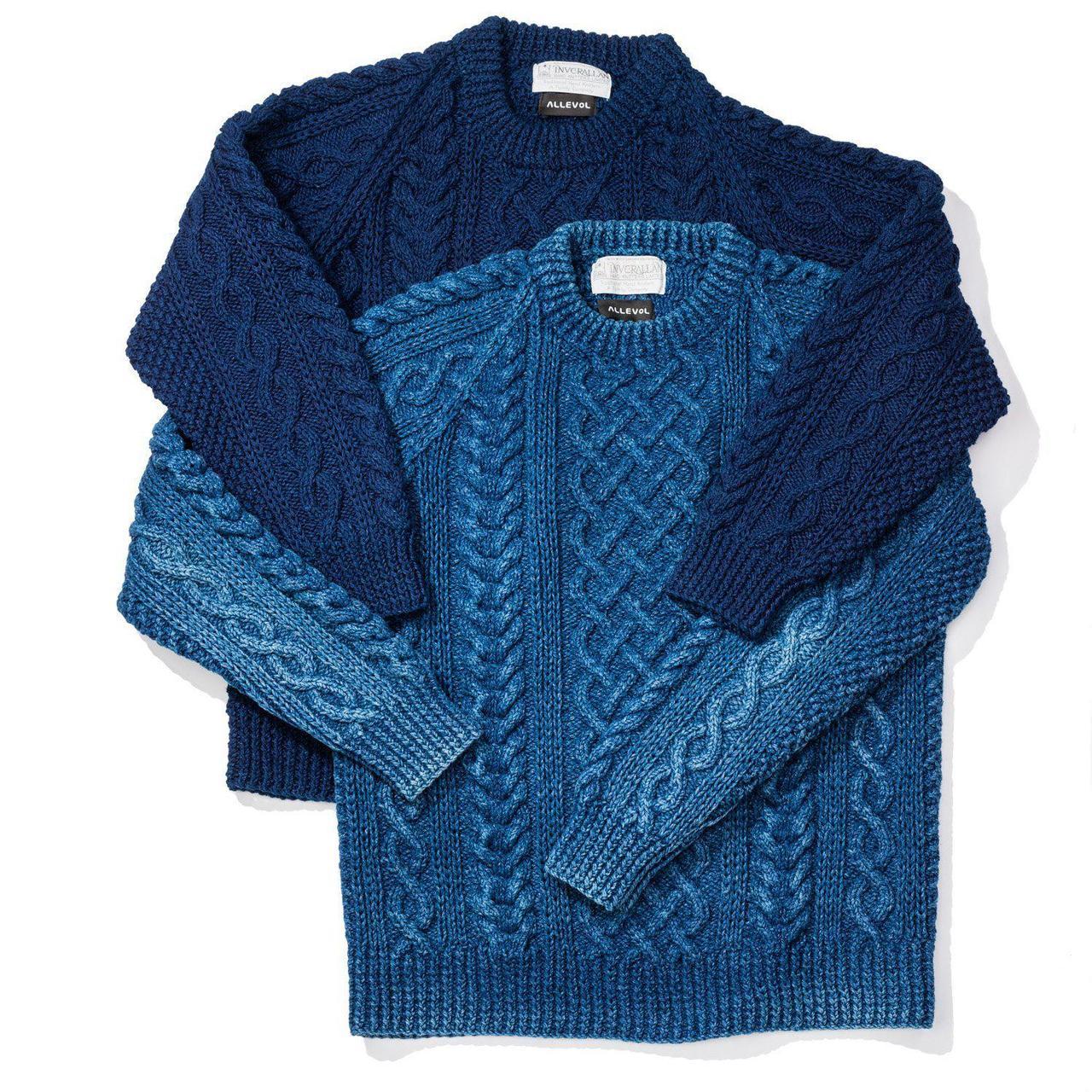 Allevol x Inverallan Cable Knit Crew 1A Indigo-Knitwear-Clutch Cafe