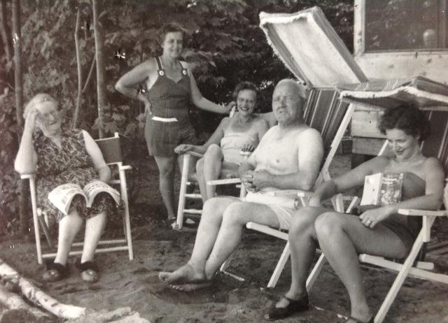 Grandparents and Mom in Canvas Deck Chairs