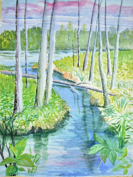 landscape painting white tree trunks and a river