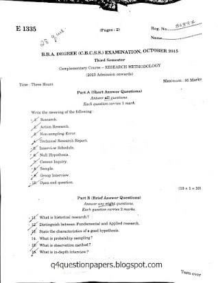 Research methodology question paper for bba