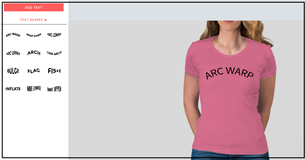 A woman wearing light pink shirt with arc warp written in front