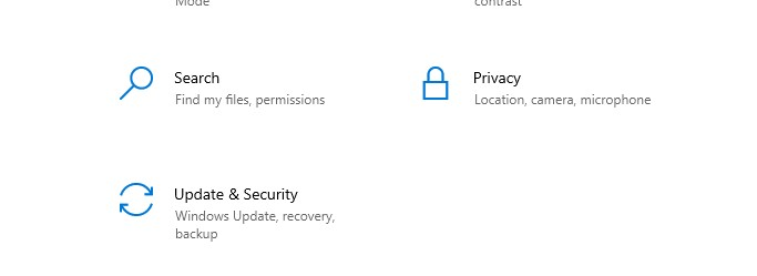 Scroll down and select Update & Security from the drop-down menu.