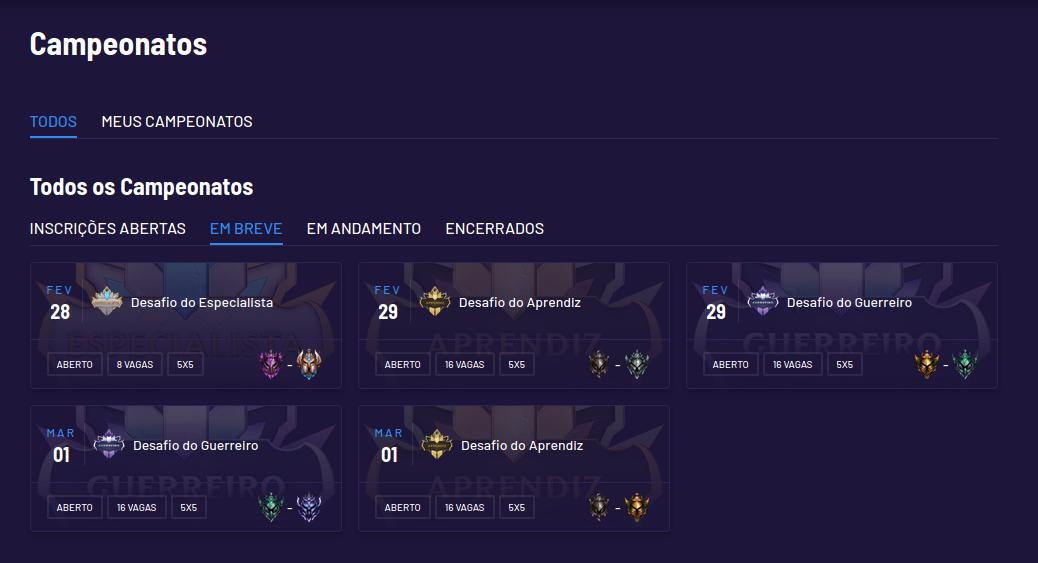 Listagem de Campeonatos separados por abas