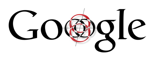 Black font Google logo where O is a compass and bullseye