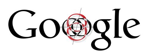 Zwart lettertype Google-logo waarin O een kompas en een roos is