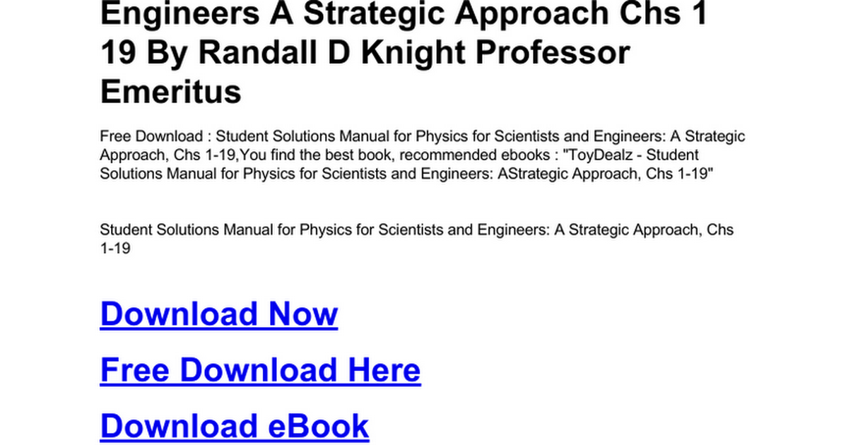 Student solutions manual for physics for scientists and engineers a student solutions manual for physics for scientists and engineers a strategic approach chs 1 19c google drive fandeluxe Gallery