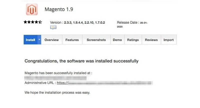 The Magento installation success message.