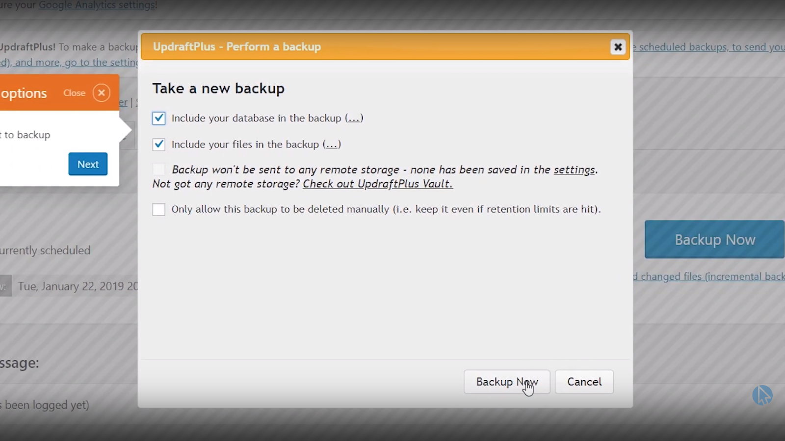 updraftplus wordpress database backup now