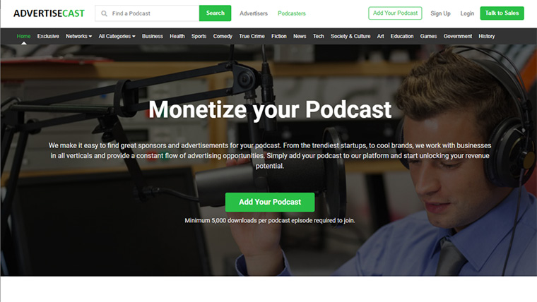site para monetizar podcasts advertisecast