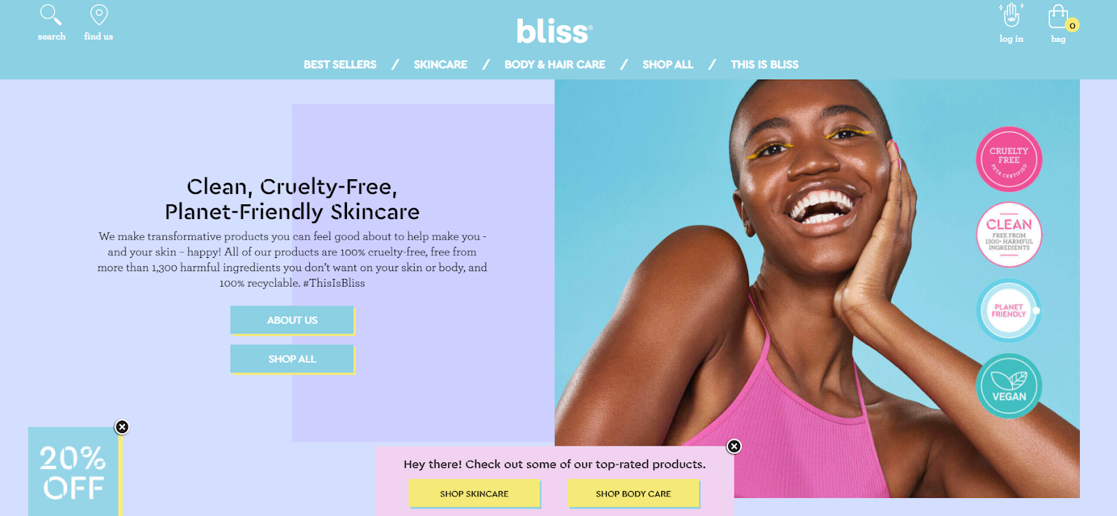 A retail website homepage