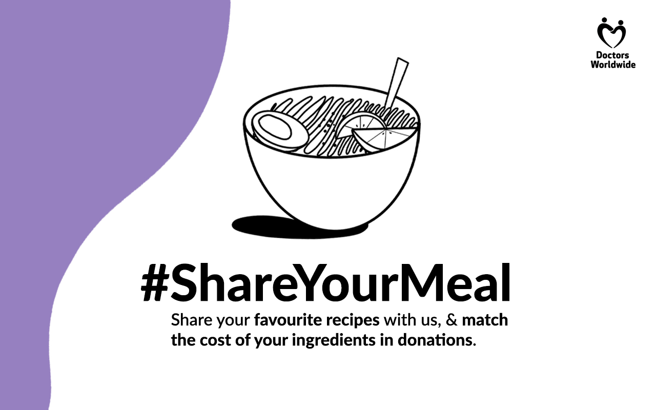 White background webcard showing a drawing of a bowl of food, with a purple curve block on the left hand side and black text in the middle of the image