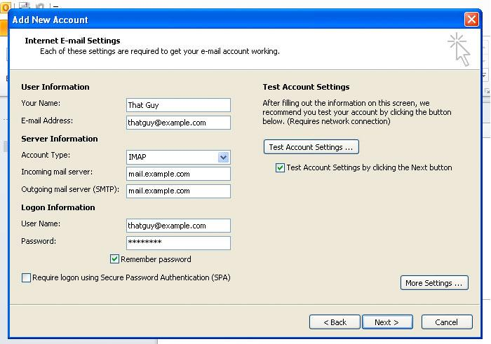 Outlook Configure Email Account