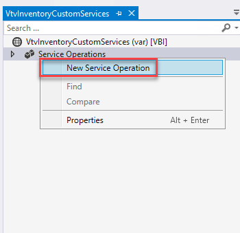 VtvInventcryCustcmSer.'ices -E X  Search  VtvInventoryCustomServices (var) [V81]  Service O erations  New Service Operation  Find  Compare  Properti es  Alt * Enter