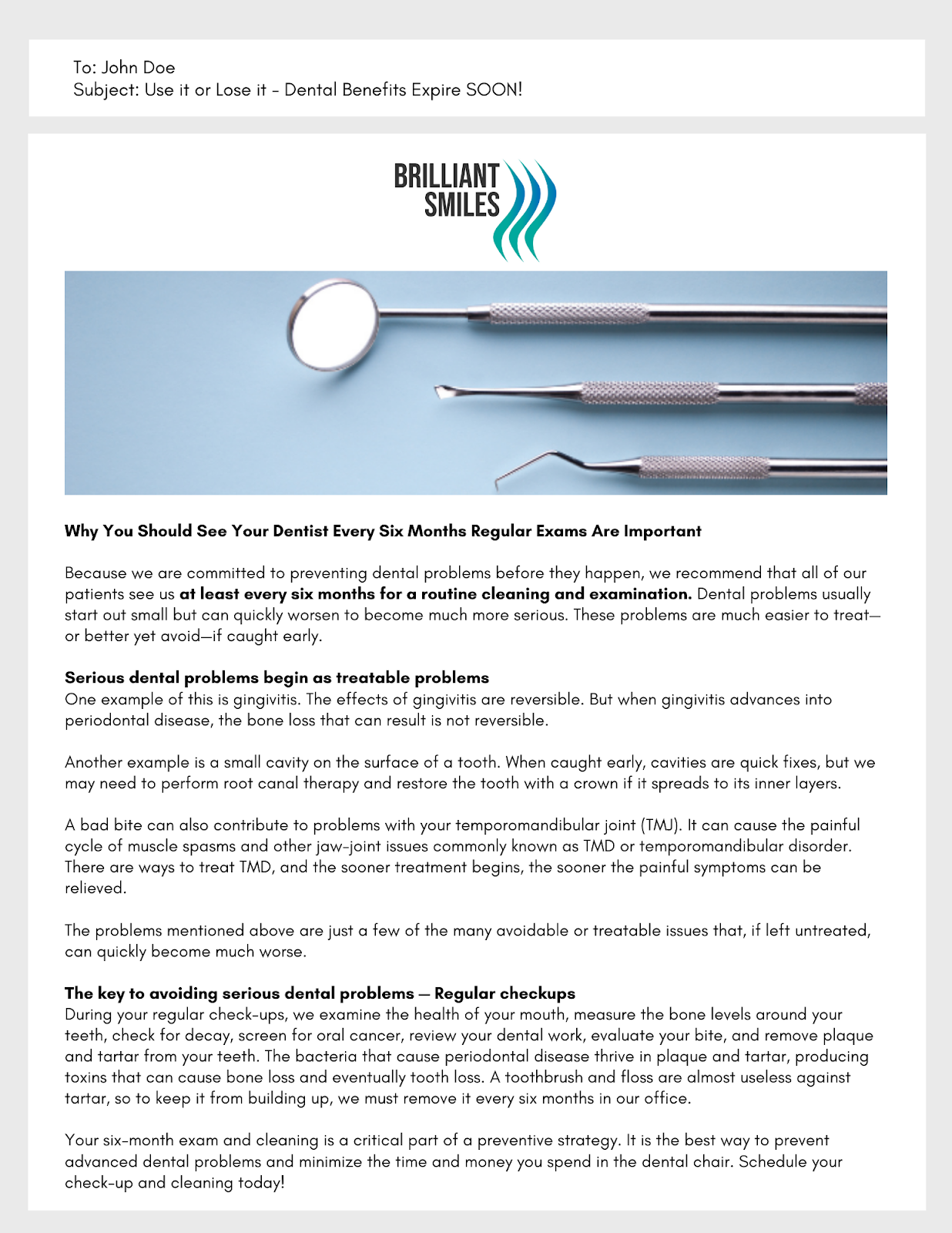 Sample patient education email
