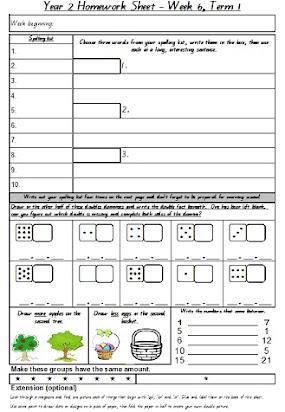 Homework sheets for year 2 australia