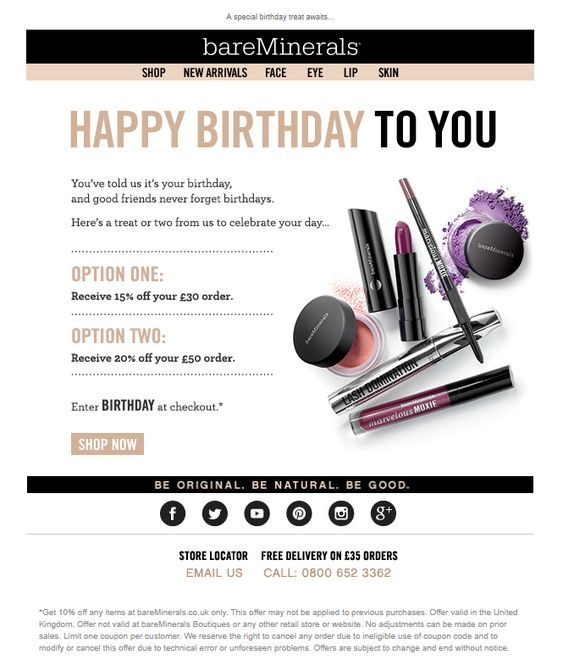 Example of Birthday email