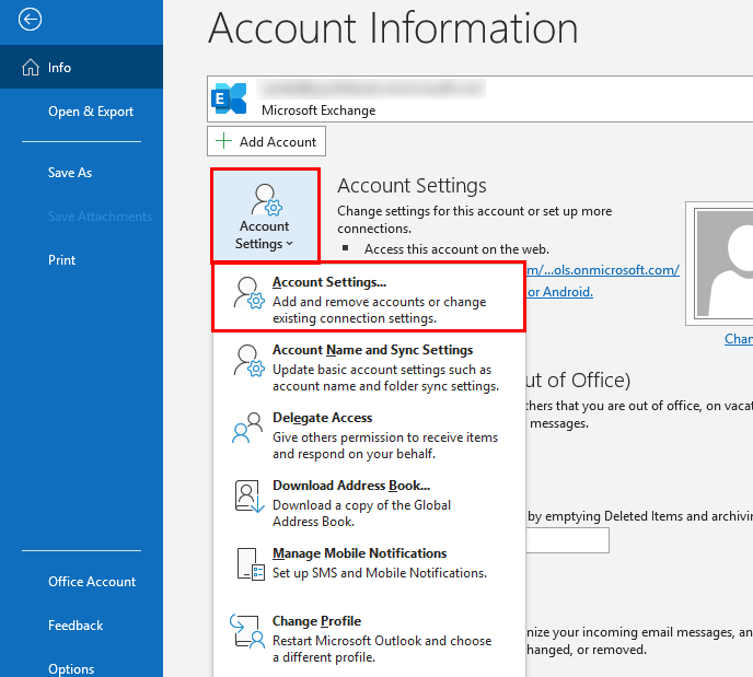 Account settings in MS Outlook