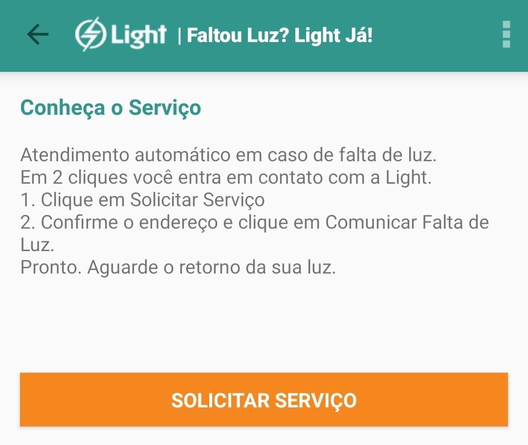 solicitar serviço para resolver falta de luz light