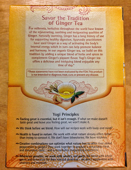 Ginger Yogi Tea ingredients