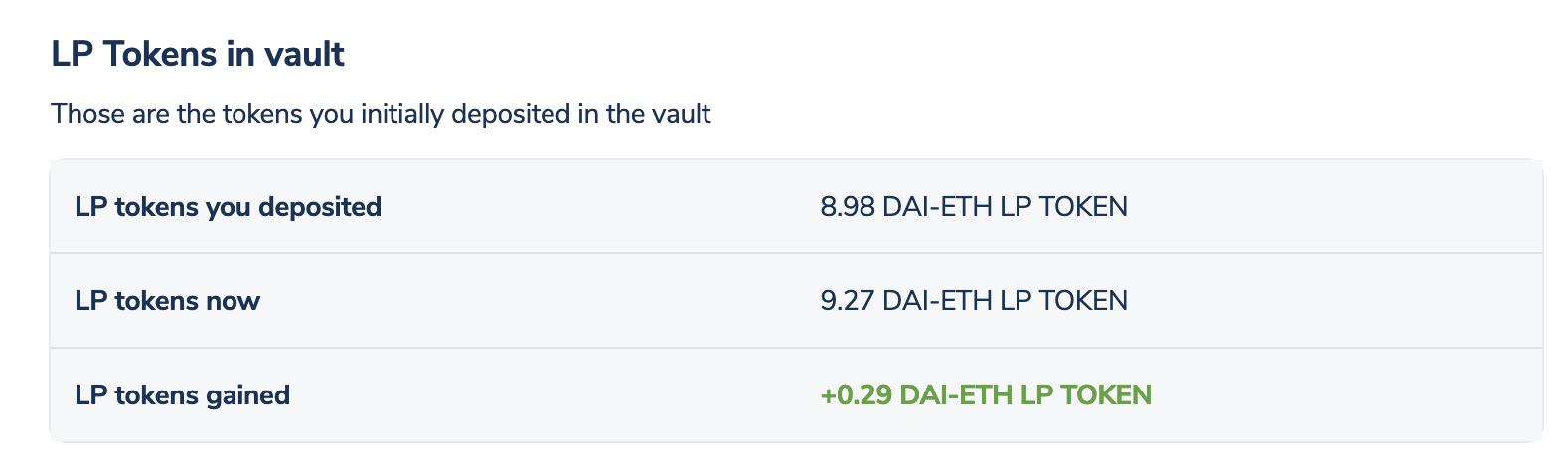 LP tokens in vault