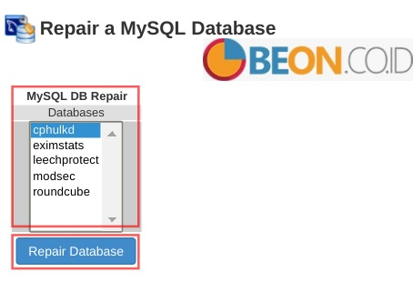 repair database dari whm