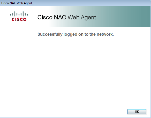 Cisco successful log-in notification screen