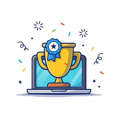 Trofeo de oro y el icono del ordenador portátil. recompensa en línea, icono de tecnología blanco aislado Vector Premium