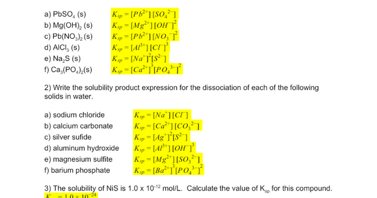 Ea02 Solubility Product Ksp Worksheet 1 Answers Google Docs