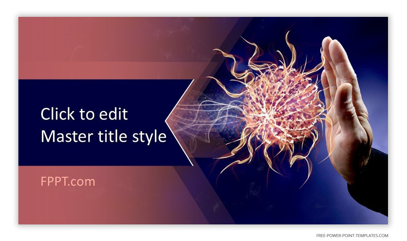 The main theme of this introduction slide revolves around an image of a hand keeping away an orange virus.