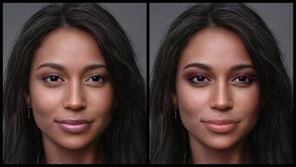 Antes e depois da foto de uma mulher negra onde uma das fotos está com a maquiagem Eve do AirBrush