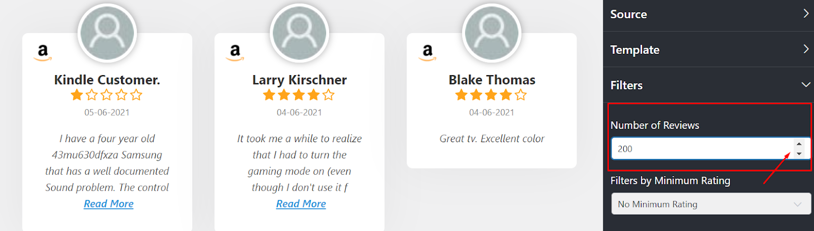 Amazon reviews number of reviews