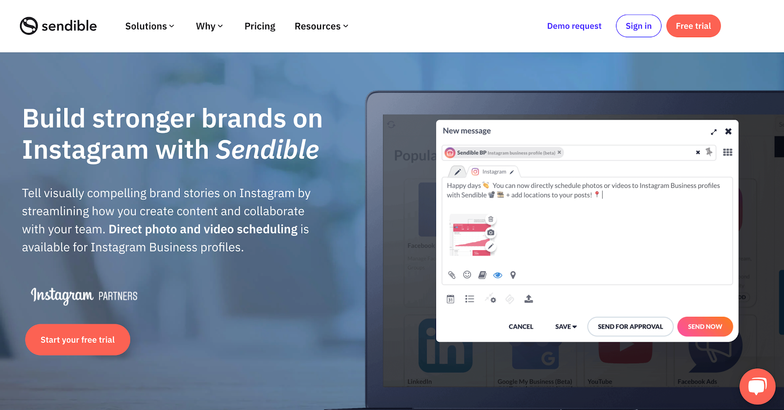 Sendible service page example