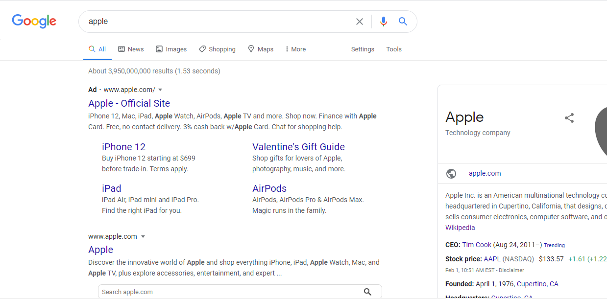 what does google expect serp page example