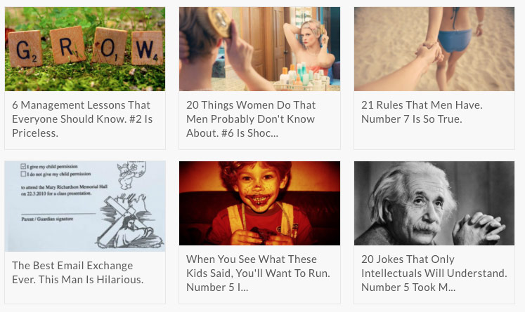 example of clickbait - Screenshot of six images with headlines underneath them. The images are of Scrabble tiles, a woman brushing her hair in the mirror, the back of a woman in a bikini, a diagram, a child with chocolate on its mouth and Albert Einstein.