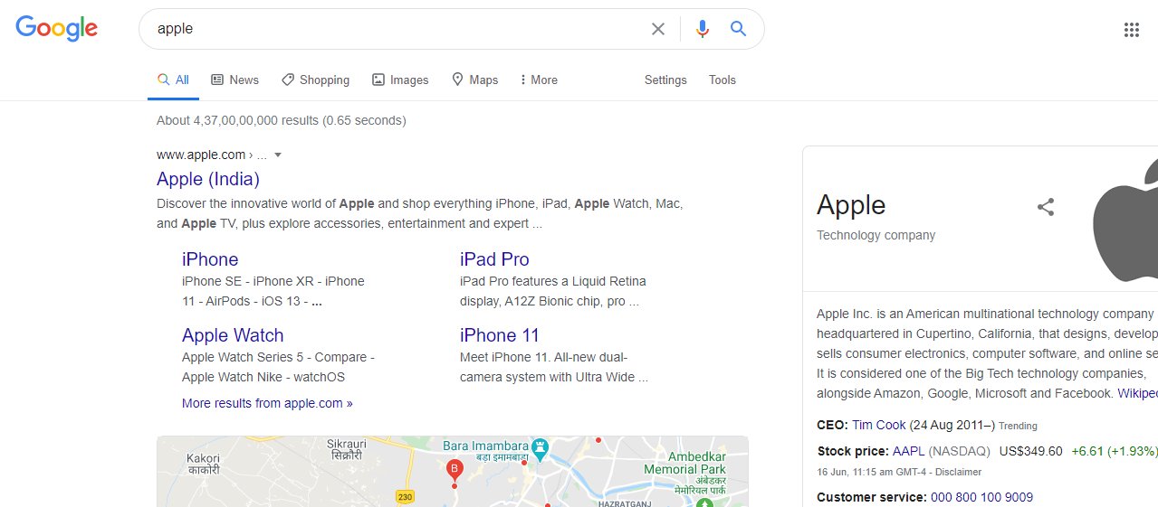 Apple search result page