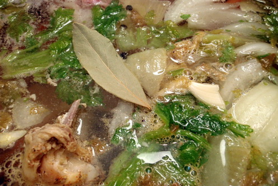 Bay leaf in a stock