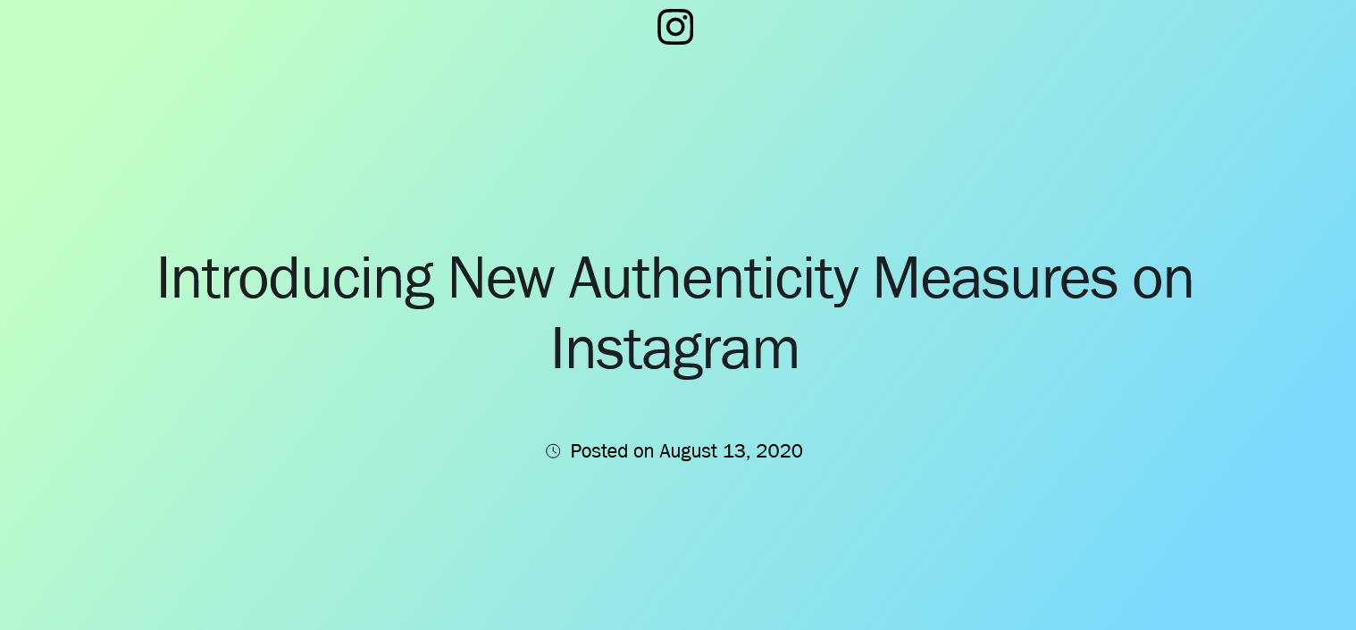 Instagram new authenticity measures in 2020