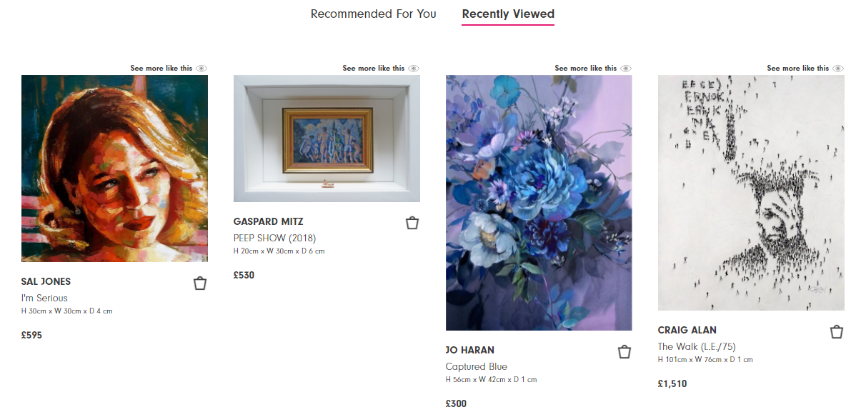 Affordable Art Fair's recently viewed section