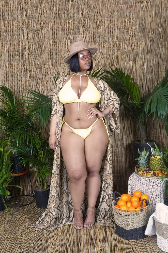 Christian Omeshun's Godiva Sunset Collection-Omeshun String Bikini in Yellow