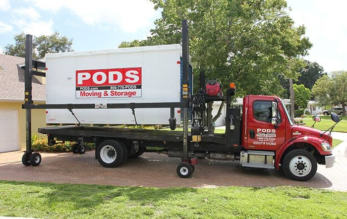 PODS Moving & Storage container being delivered