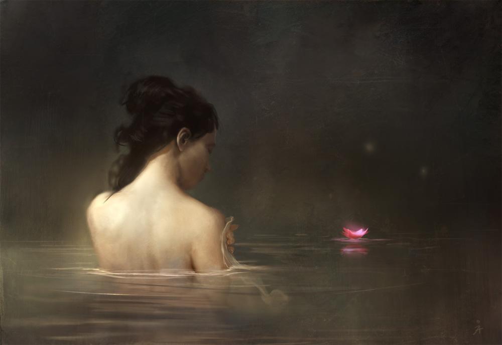beautiful woman bathing in pond
