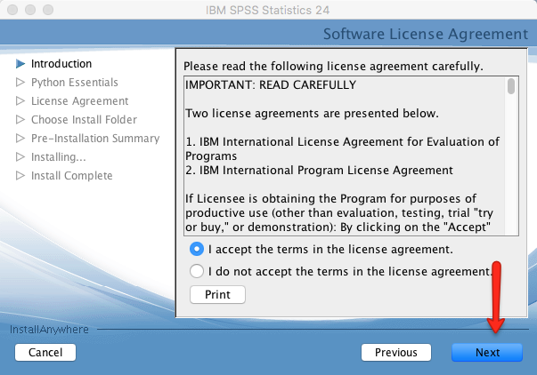 Mac SPSS Install License Agreement
